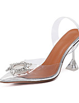 cheap -Women's Sandals Stiletto Heel Pointed Toe Roman Shoes Daily Walking Shoes PU Rhinestone Silver