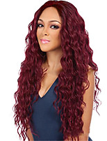 cheap -Synthetic Wig Curly Water Wave Middle Part Wig Long Wine Red Synthetic Hair Women's Soft Cool Burgundy