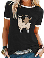cheap -Women's T shirt Animal Patchwork Print Round Neck Tops Basic Basic Top White Black Blue
