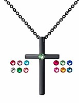 cheap -birthstone tiny cross pendant necklace with aaaaa sparkly zircon birthday gifts for women girl fashion jewelry