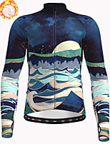 cheap -21Grams Men's Long Sleeve Cycling Jacket Winter Fleece Polyester Dark Navy Bike Jacket Top Mountain Bike MTB Road Bike Cycling Thermal Warm Fleece Lining Breathable Sports Clothing Apparel / Stretchy