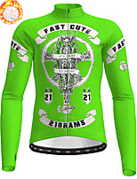 cheap -21Grams Men's Long Sleeve Cycling Jersey Winter Fleece Polyester Black Yellow Blue Skull Christmas Bike Jersey Top Mountain Bike MTB Road Bike Cycling Fleece Lining Warm Quick Dry Sports Clothing
