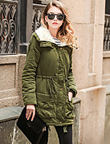 cheap -Women's Zipper Teddy Coat Long Solid Colored Work Active Black Red Army Green Khaki S M L XL