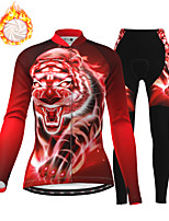 cheap -21Grams Women's Long Sleeve Cycling Jersey with Tights Winter Fleece Polyester Red Tiger Bike Jacket Tights Clothing Suit Fleece Lining Breathable Warm Back Pocket Sports Graphic Mountain Bike MTB