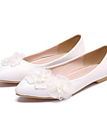 cheap -Women's Wedding Shoes Flat Heel Pointed Toe Vintage Sexy Minimalism Wedding Party & Evening PU Satin Flower Lace Flower Solid Colored White Pink