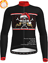 cheap -21Grams Men's Long Sleeve Cycling Jersey Winter Fleece Polyester Black Skull Christmas Santa Claus Bike Jersey Top Mountain Bike MTB Road Bike Cycling Fleece Lining Warm Quick Dry Sports Clothing