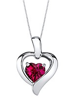 cheap -created ruby pendant necklace in sterling silver, heart in heart shape design, 6mm, 1.15 carats with 18 inch chain