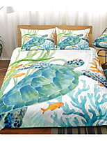 cheap -Ocean Series Sea Turtle Print 3-Piece Duvet Cover Set Hotel Bedding Sets Comforter Cover with Soft Lightweight Microfiber(Include 1 Duvet Cover and 1or 2 Pillowcases)