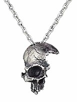 cheap -broken damaged half face skull pendant necklace with chain (silver)