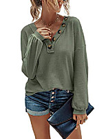 cheap -women's waffle knit tunic blouse v neck tops button lantern sleeve pullover loose plain shirts armygreen xl