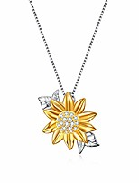 cheap -925 sterling silver sunflower pendant necklace for women, you are my sunshine jewelry christmas gifts for women girls