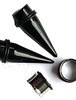 """cheap -2 pairs black tapers and 316l steel tunnels ear stretching kit 00g - 1 inch (7/8""""(22mm))"""