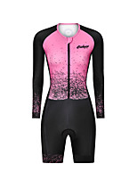 cheap -Men's Women's Long Sleeve Triathlon Tri Suit Polyester Pink Bike Clothing Suit Breathable 3D Pad Quick Dry Reflective Strips Sweat-wicking Sports Graphic Mountain Bike MTB Road Bike Cycling Clothing