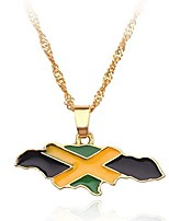 cheap -fashion unisex country flag map gold pendant necklace (jamaica)