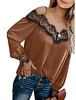 cheap -women fashion off the shoulder blouses lace v neck spaghetti straps long sleeve tops cute shirts work green xxl