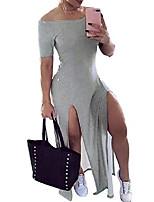 cheap -women fashion off shoulder loose split club midi dress women solid color dress sexy tight skirt gray