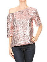 cheap -womens short sleeve one shoulder sexy sequin top blouse, pink, xxx-large