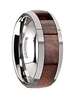 cheap -grove | tungsten rings for men | tungsten | comfort fit | carbide wedding ring band with redwood wood inlay and polished beveled edges - 8mm