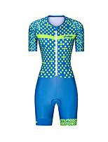 cheap -Men's Women's Short Sleeve Triathlon Tri Suit Polyester Blue Polka Dot Bike Clothing Suit Breathable 3D Pad Quick Dry Reflective Strips Sweat-wicking Sports Polka Dot Mountain Bike MTB Road Bike