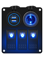 cheap -3-position blue light switch panel multi-function panel car charging  power socket suitable for 12 / 24 V car RV yacht etc