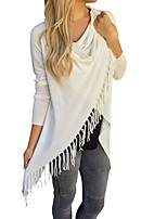 cheap -Women's Cloak / Capes Long Solid Colored Going out Basic White Black Red Green S M L XL