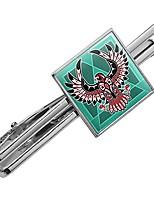 cheap -black hawk native american design style square tie bar clip clasp tack- silver or gold