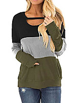cheap -women's fall casual loose tops color block chest cutout tunics long sleeve shirt scoop neck blouse (s, z black gray blue)