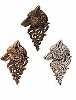 cheap -2pcs fashion animal dire wolf head coyote antique lapel brooch pin badge men's suits buckle neckwear accessories (black/bronze)