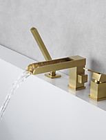 cheap -Bathroom Contemporary Waterfall Bathtub Faucet Roman Tub Filler Widespread Faucet With Handheld Shower More Long Spout Single Handle 3 Hole Deck Mount Brushed Gold Matte Black Chrome Polish