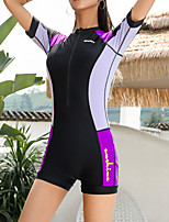 cheap -Women's Rash Guard Dive Skin Suit Swimwear Breathable Quick Dry Short Sleeve Front Zip - Swimming Surfing Water Sports Patchwork Summer