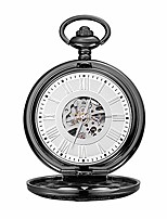 cheap -men gift vintage pocket watch black clamshell mechanical pocket watch roman carved hollow classic machinery