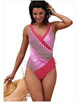 cheap -Women's Fashion Sexy One Piece Swimsuit Lace up Print Padded Normal Strap Swimwear Bathing Suits Light Blue Fuchsia