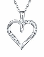 cheap -sterling silver heart necklace for women simulated diamond cubic zirconia cz 'infinity love' heart dainty pendant anniversary birthday jewelry for her teen girls, 16+2 inch