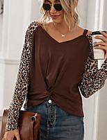 cheap -Women's T shirt Leopard Long Sleeve V Neck Tops Basic Basic Top Black Brown Gray