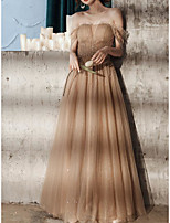 cheap -A-Line Glittering Elegant Engagement Formal Evening Dress Off Shoulder Short Sleeve Floor Length Tulle with Pleats Beading 2020