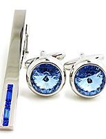 cheap -badmen crystal cufflinks and tie clip set shining french shirt suit cufflinks and tie clip set (blue set)