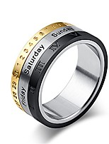 cheap -men's three color calendar ring time spinner band ring