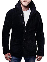 cheap -mens sherpa jackets fleece hoodie button down fuzzy cardigans open front thick warm winter coat with pockets black