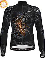 cheap -21Grams Men's Long Sleeve Cycling Jacket Winter Fleece Polyester Black Animal Bike Jacket Top Mountain Bike MTB Road Bike Cycling Thermal Warm Fleece Lining Breathable Sports Clothing Apparel