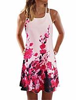 cheap -plus size womens boho dress,zerototens ladies vintage summer sleeveless floral print beach short mini tank vest dresses strappy sundress pink