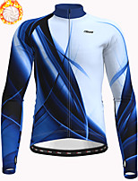 cheap -21Grams Men's Long Sleeve Cycling Jacket Winter Fleece Polyester Blue Bike Jacket Top Mountain Bike MTB Road Bike Cycling Thermal Warm Fleece Lining Breathable Sports Clothing Apparel / Stretchy