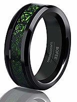 cheap -mens 8mm black tungsten rings celtic dragon green carbon fiber inlay comfort fit wedding bands (8)