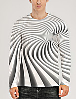 cheap -Men's T shirt 3D Print Graphic Optical Illusion 3D Print Long Sleeve Daily Tops Round Neck Gray / White