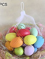 cheap -20pcs easter plastic eggs, realistic printed chicken eggs ornaments, easter pretend play hanging eggs home decoration for kids