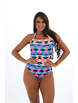 cheap -Women's Fashion Sexy One Piece Swimsuit Geometric Lace up Cut Out Print Padded Normal Strap Swimwear Bathing Suits Blue
