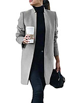 cheap -women slim fit stand collar open front woolen stylish long trench coat gray xs