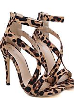 cheap -Women's Sandals Stiletto Heel Open Toe Roman Shoes Daily Walking Shoes PU Leopard Brown