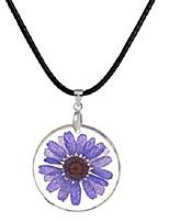 cheap -stylesilove womens pressed natural daisy flower resin pendant necklace (purple with leather rope)