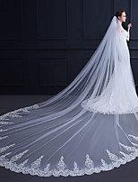 cheap -One-tier Flower Style / Lace Wedding Veil Cathedral Veils with Scattered Bead Floral Motif Style / Solid 137.8 in (350cm) Tulle