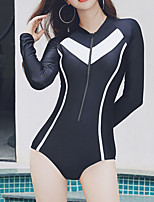 cheap -Women's Rash Guard Dive Skin Suit Swimwear Breathable Quick Dry Long Sleeve Front Zip - Swimming Surfing Water Sports Patchwork Autumn / Fall Spring Summer